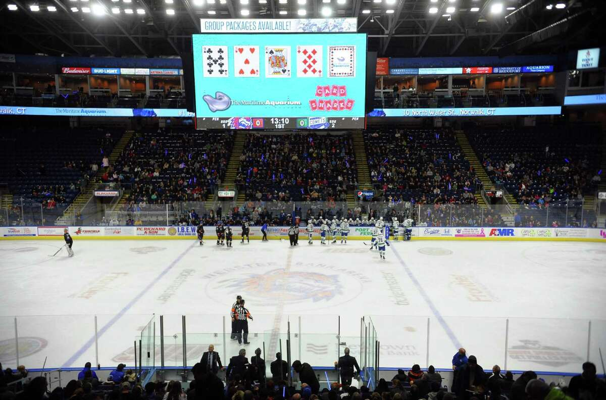 The Bridgeport Sound Tigers prepare to play against the Utica Comets at the Webster Bank Arena in Bridgeport, Conn. on Saturday Dec. 2, 2017.
