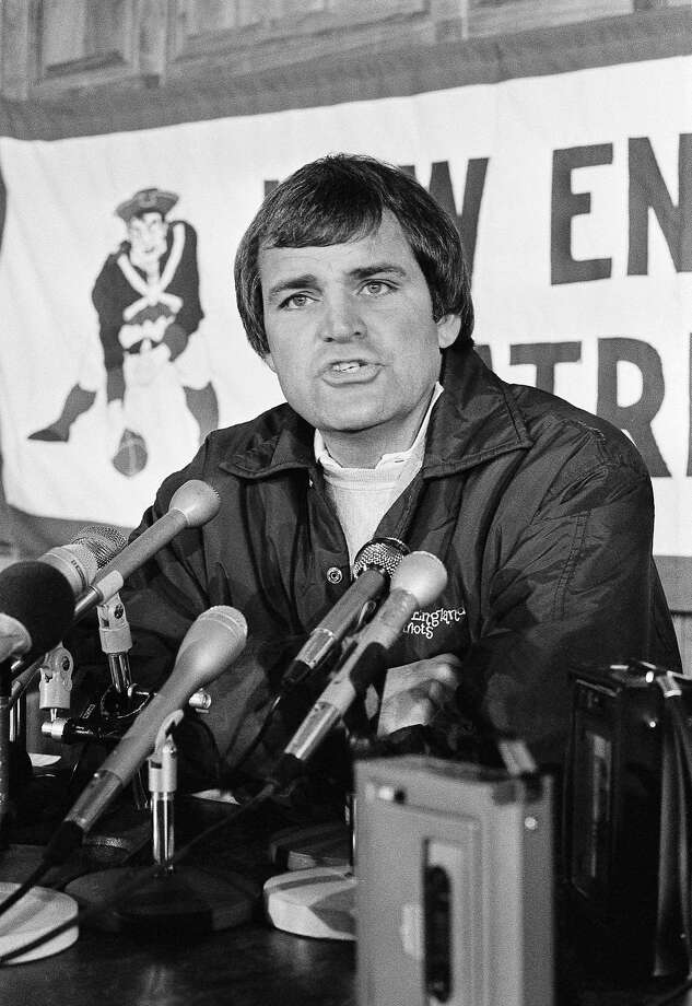 """FILE - In this Nov. 17, 1982, file photo, New England Patriots coach Ron Meyer talks with the media in Foxborough, Mass. From SMU's """"Pony Express"""" to the NFL's infamous """"Snowplow Game,"""" former college and professional football coach Ron Meyer was in the middle of some of the game's most controversial and colorful teams and moments in the 1980s. Meyer died Tuesday, Dec. 5, 2017, in Austin, Texas, at age 76. (AP Photo/Paul Benoit, File) Photo: Paul Benoit, Associated Press"""