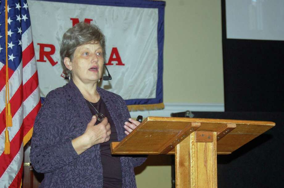 Lisbeth Gronlund, senior scientist and co-director of the Global Security Program at the Union of Concerned Scientists, speaks Wednesday to the Greenwich Retired Men's Association. Photo: Ken Borsuk