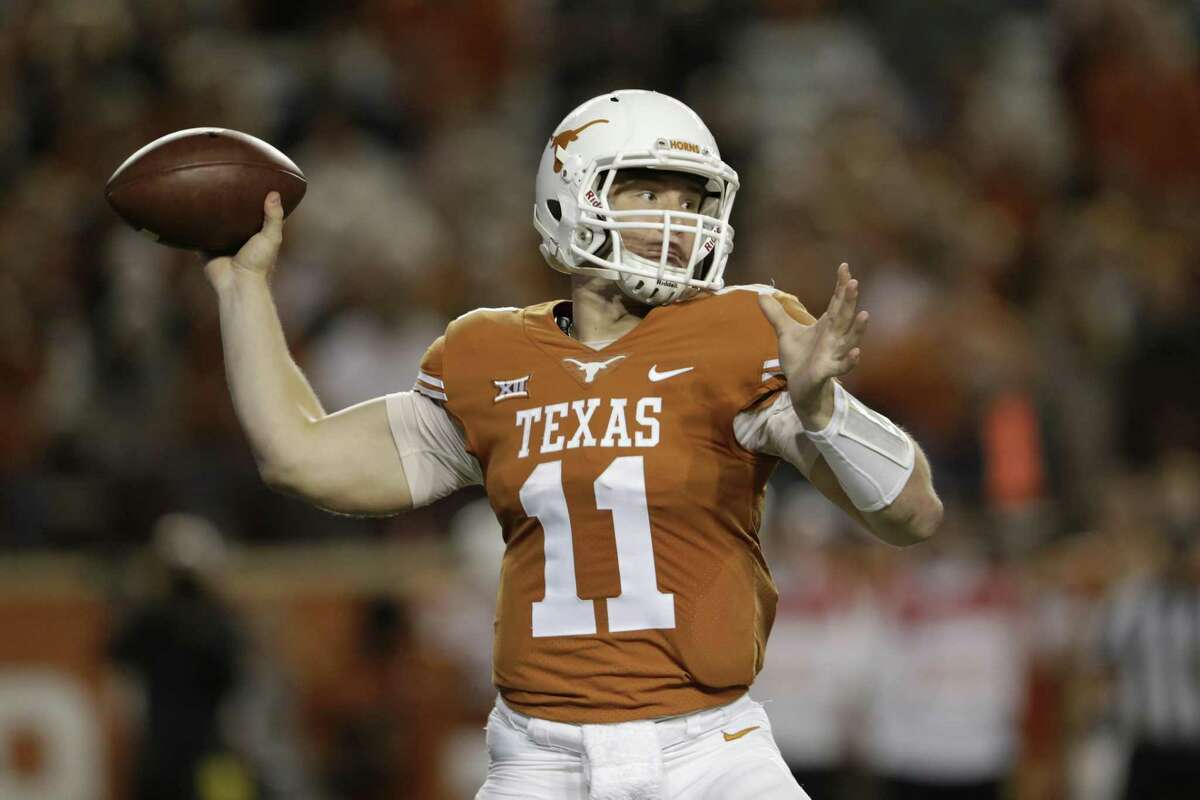 Texas quaterback Sam Ehlinger throws a pass against Texas Tech at Darrell K Royal-Texas Memorial Stadium on Nov. 24, 2017 in Austin, Texas.
