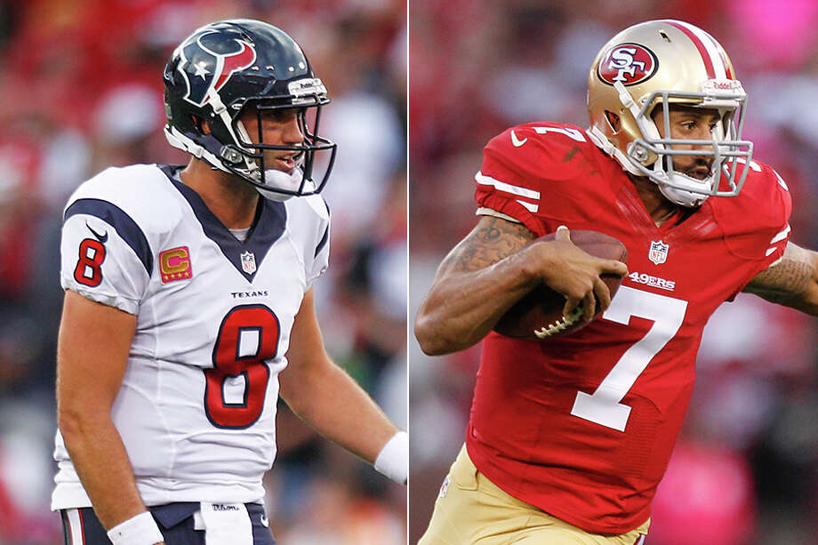 Matt Schaub (left) and Colin Kaepernick quarterbacked Super Bowl hopefuls the last time the Texans and 49ers met in the regular season. Both suffered falls from grace for differing reasons. Photo: Brett Coomer Photos / Houston Chronicle