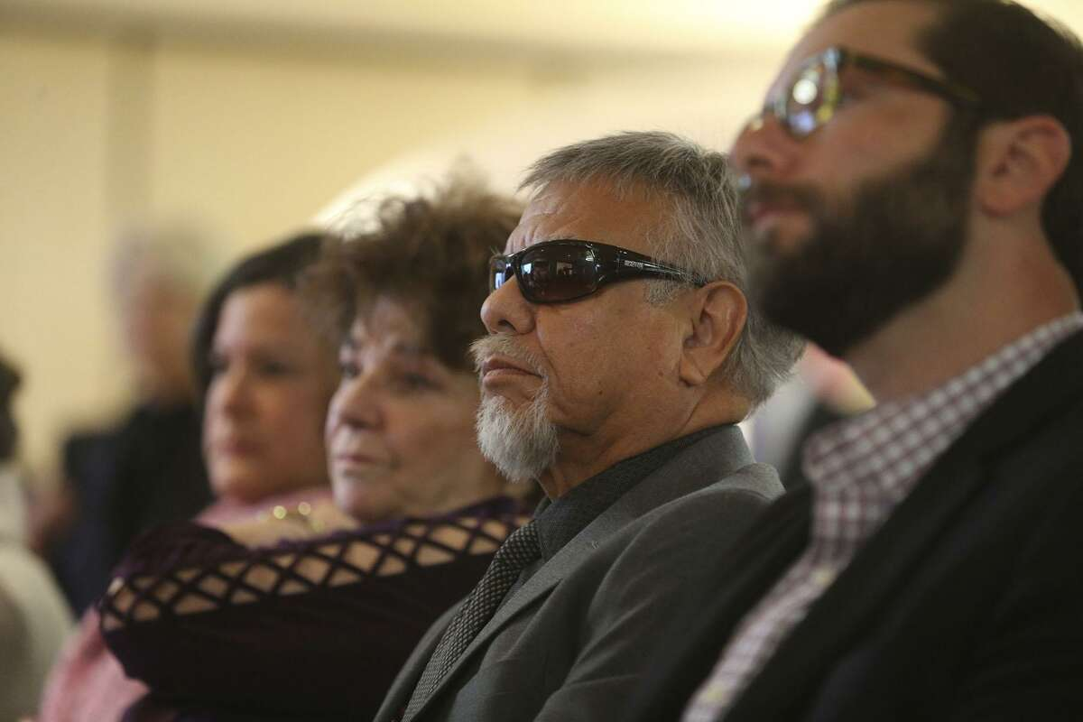 """""""Little Joe"""" Jose Hernandez (wearing sunglasses) of Little Joe y Familia, sits during a press conference held Wednesday December 6, 2017 at the Hilton Palacio del Rio announcing the details of San Antonio's New Year's Eve festival. The free, outdoor event, known as Celebrate 300, will kick off the 300th anniversary of San Antonio and Bexar County."""