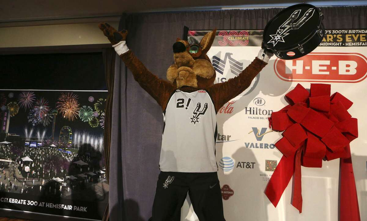 The Spurs Coyote gets hyped during a press conference held Wednesday December 6, 2017 at the Hilton Palacio del Rio announcing the details of San Antonio's New Year's Eve festival. The free, outdoor event will be held at Hemisfair downtown.