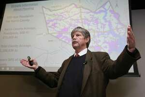 """Co-director of Rice University's Severe Storm Prediction Education and Evacuation from Disasters (SSPEED) Center Jim Blackburn gives his """"Designing A Houston For the Future"""" presentation at the Houston Chronicle's """"Greater Houston After Harvey"""" panel at the Chronicle building on Wednesday, Dec. 6, 2017, in Houston."""