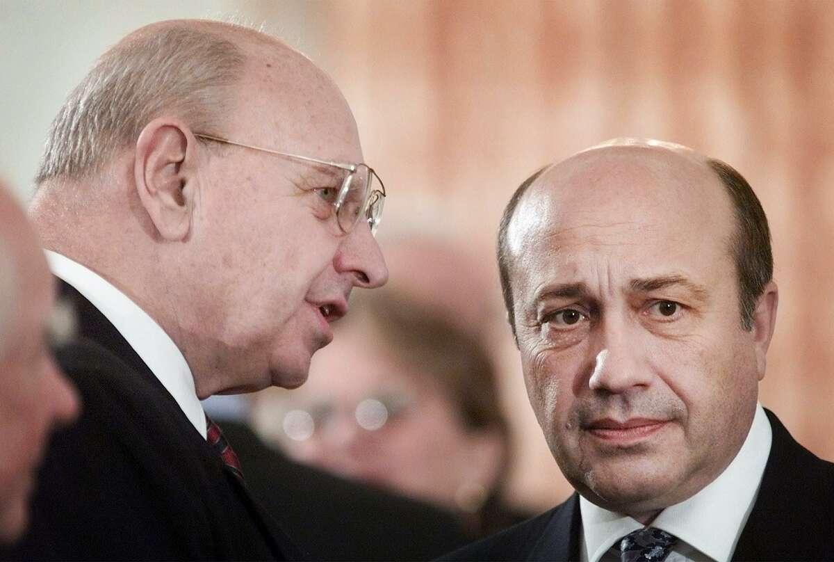 Thomas Pickering, left, former U.S. ambassador to Russia and Under Secretary of State in the Clinton administration, talks to Russian Foregin Minister Igor Ivanov prior to the start of Russian President Vladimir Putin policy address at the Russian Embassy Tuesday, Nov. 13, 2001 in Washington. (AP Photo/Pablo Martinez Monsivais)