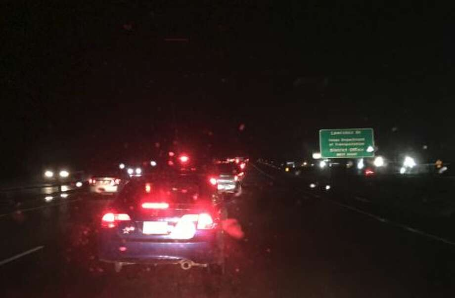 A major vehicle wreck involving an 18-wheeler and three vehicles at Eastex Freeway and Lawrence Drive caused severe traffic congestion Wednesday evening. Photo: Krista Chandler