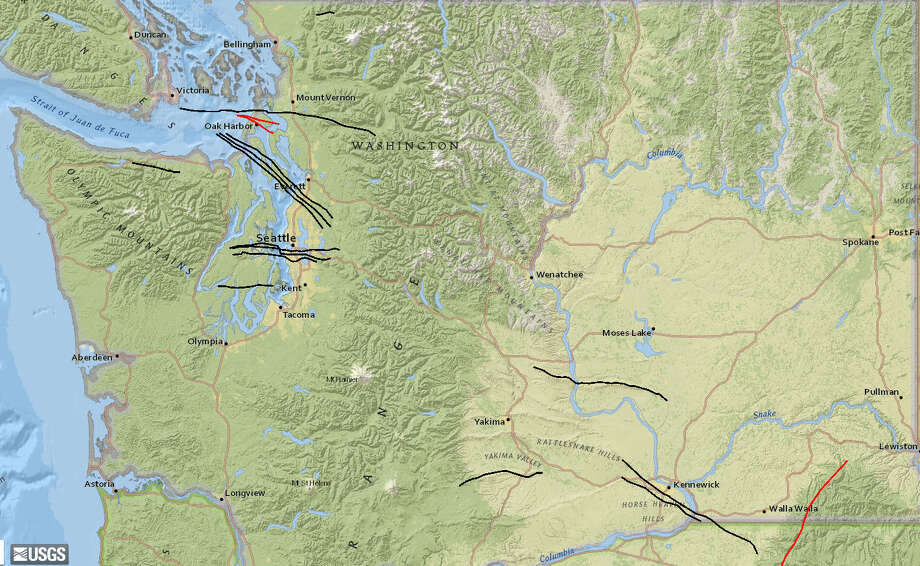 This U.S. Geological Survey map shows the known fault lines running through Washington state. Photo: USGS