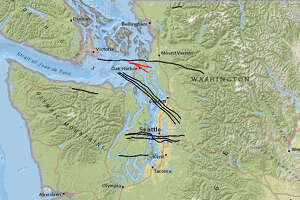 This U.S. Geological Survey map shows the known fault lines running through Washington state.