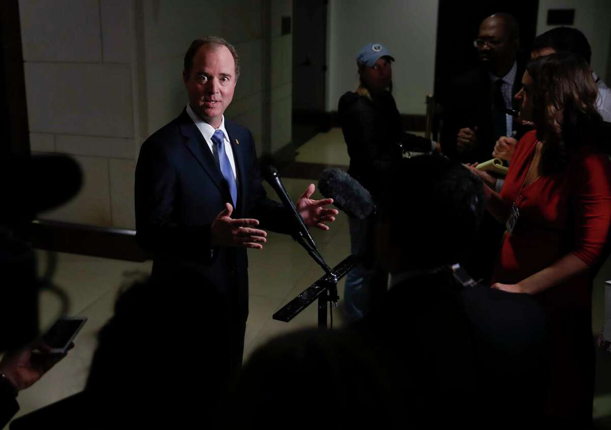 Rep. Adam Schiff, D-Calif., ranking member of the House Intelligence Committee, speaks to media after a House Intelligence Committee meeting where President Donald Trump's oldest son, Donald Trump Jr., was interviewed behind closed doors on Capitol Hill in Washington, Wednesday, Dec. 6, 2017. (AP Photo/Carolyn Kaster)