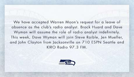 The Seahawks announced that Dave Wyman will fill in for Warren Moon during Sunday's radio broadcast of the team's game against Jacksonville. Photo: Seattle Seahawks