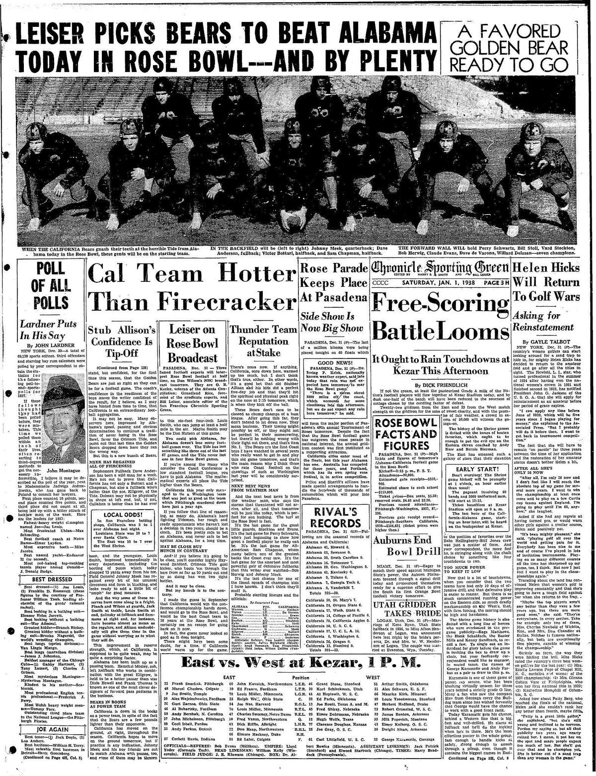 Chronicle Sports front page on January 1, 1938, with Cal Bears playing Alabama in the Rose Bowl