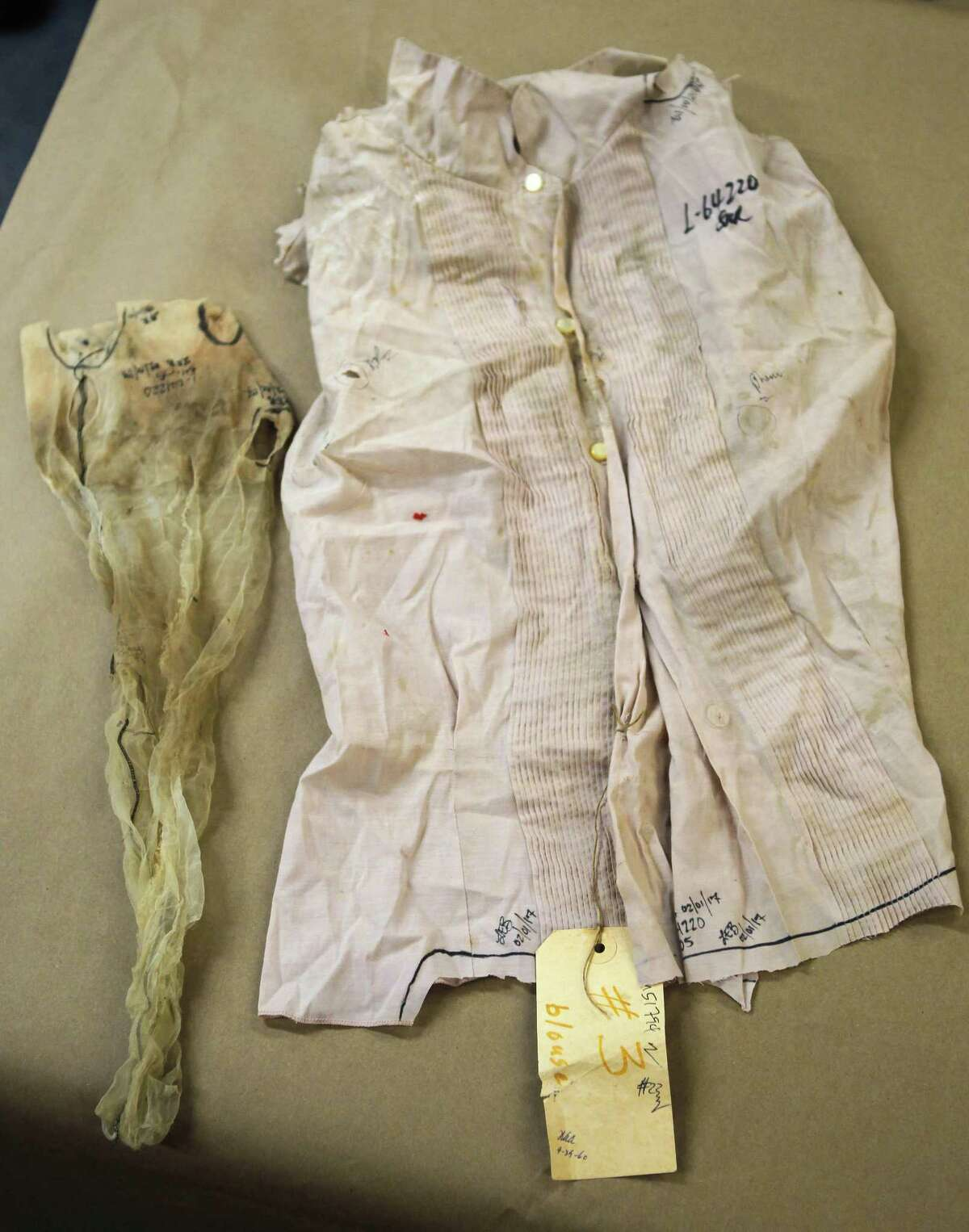 The blouse and a stocking worn by Irene Garza when her body was discovered in a canal on April 21, 1960 in McAllen. The items have been entered into evidence in John Bernard Feit's trial for the 1960 murder of Irene Garza in the 92nd state District Court at the Hidalgo County Courthouse in Edinburg. (Nathan Lambrecht/The Monitor/Pool)