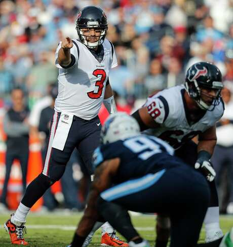 Houston Texans quarterback Tom Savage (3) calls a play at the line during the third quarter of an NFL football game at Nissan Stadium on Sunday, Dec. 3, 2017, in Nashville. ( Brett Coomer / Houston Chronicle ) Photo: Brett Coomer, Staff / © 2017 Houston Chronicle