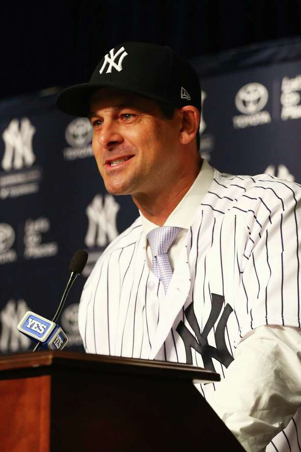 NEW YORK, NY - DECEMBER 06:  Aaron Boone speaks to the media after being introduced as manager of the New York Yankees at Yankee Stadium on December 6, 2017 in the Bronx borough of New York City.  (Photo by Mike Stobe/Getty Images) ORG XMIT: 775087738 Photo: Mike Stobe / 2017 Getty Images