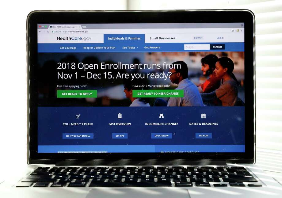 In this Oct. 18, 2017 photo, the Healthcare.gov website is seen on a computer screen in Washington. The government says sign-ups for the Affordable Care Act's subsidized health insurance are still rising. But with just over a week to go in an enrollment season that was cut in half, experts say the final tally is likely to fall short.  (AP Photo/Alex Brandon) Photo: Alex Brandon, STF / Copyright 2017 The Associated Press. All rights reserved.