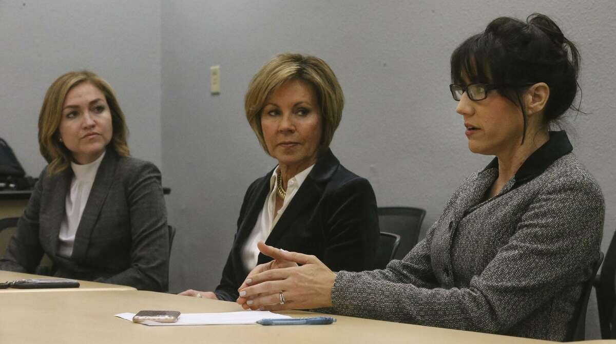 The City of San Antonio is considering a $6 million economic incentive package to help USAA add 1,500 jobs in San Antonio and move 2,000 jobs to its presence downtown. Speaking about this Wednesday December 6, 2017 are: (from left-to-right), Jenna Saucedo-Herrera, San Antonio Economic Development Foundation CEO and president, City Manager Sheryl Sculley and Assistant City Manager Lori Houston.