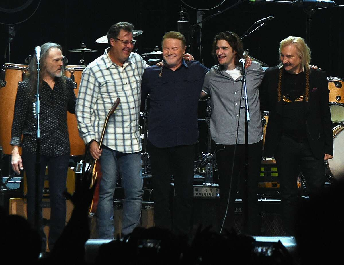 The Eagles: Timothy B. Schmit, Vince Gill, Don Henley, Decon Frey and Joe Walsh perform during the Eagles in Concert at The Grand Ole Opry on October 29, 2017 in Nashville, Tennessee. It was announced this week that the band will play Minute Maid Park in June. See who else is playing Houston in 2018....