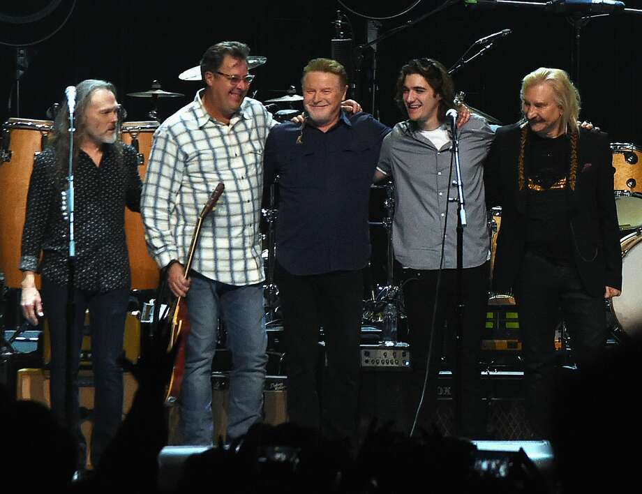 The Eagles: Timothy B. Schmit, Vince Gill, Don Henley, Decon Frey and Joe Walsh perform during the Eagles in Concert at The Grand Ole Opry on October 29, 2017 in Nashville, Tennessee. It was announced this week that the band will play Minute Maid Park in June.See who else is playing Houston in 2018.... Photo: Rick Diamond/Getty Images