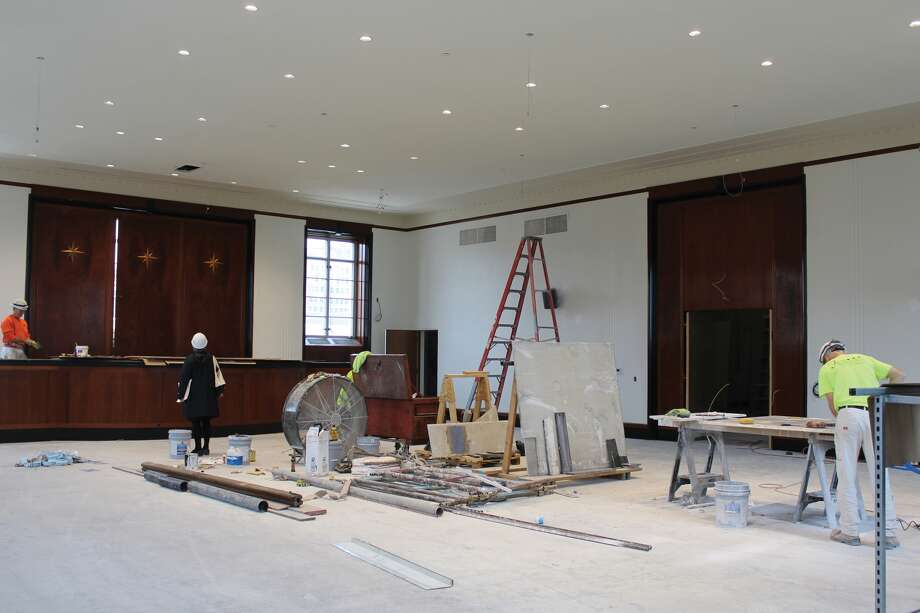 A crew works on the interior of Soldiers Memorial Military Museum in St. Louis. Photo: For The Edge