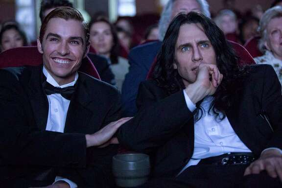 "Dave Franco, left, and James Franco star as real-life filmmakers Greg Sestero and Tommy Wiseau, respectively, in ""The Disaster Artist."""