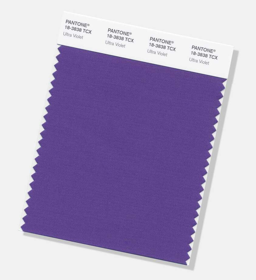 "This image provided by the Pantone Color Institute shows the Pantone Color of the Year for 2018, called ""Ultra Violet."" The color experts at the Carlstadt, New Jersey-based Pantone say the deep purple shade was chosen to evoke a counterculture flair, a grab for originality, ingenuity and visionary thinking. Ultra Violet follows Pantone's 2017 Color of the Year, ""Greenery."" Photo: Associated Press / Pantone Color Institute"