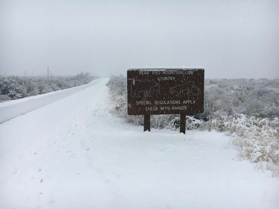 Snow has fallen throughout much of the park, with the heaviest dusting in the Chisos Mountains. The Chisos Basin Rd has closed while we begin clearing it, but may remain closed for several hours. This is a rare and special treat for us here in the desert, so drink some cocoa, dress warmly, and take a walk among snow-covered cactus! Photo: Big Bend National Park