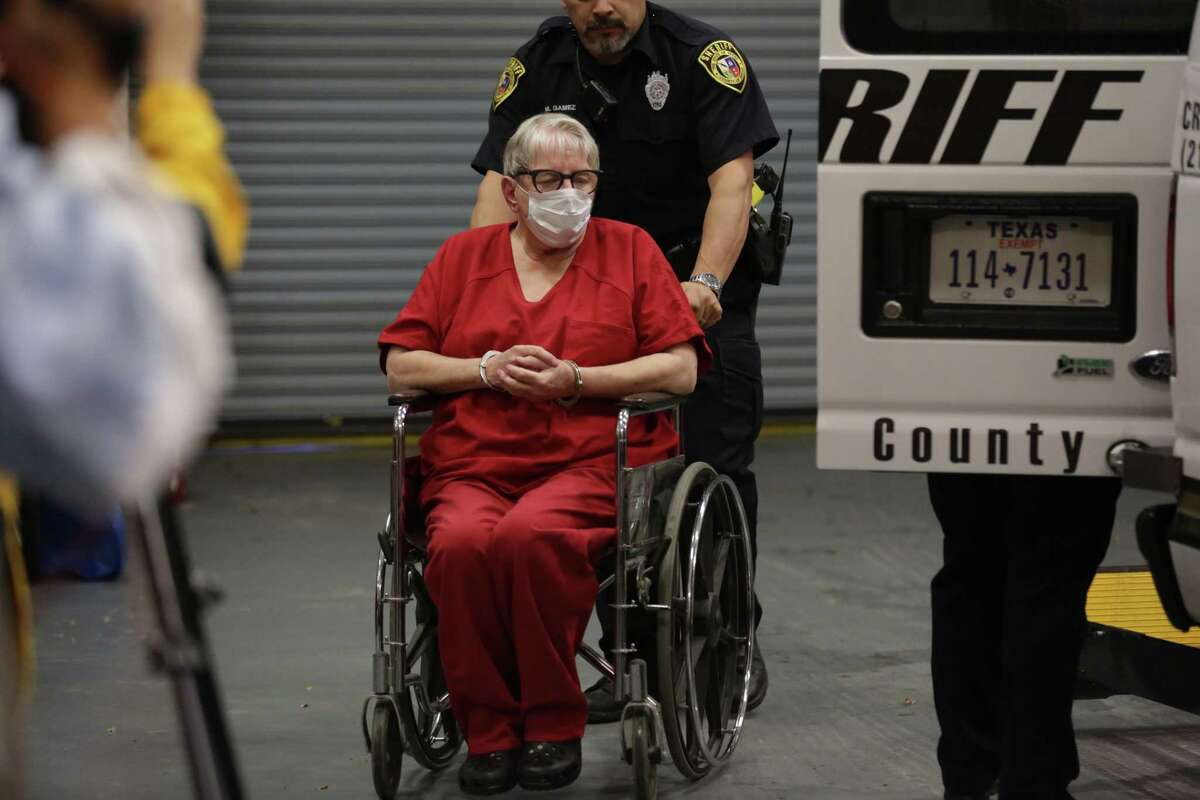 Convicted child killer Genene Jones arrives at the Cadena-Reeves Justice Center for arraignment before District Judge Frank Castro in the 399th State District Court on Thursday, Dec. 7, 2017.