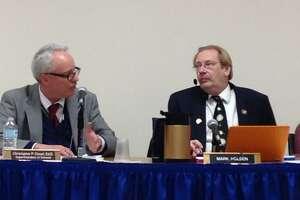 Shelton Schools Superintendent Chris Clouet and Mark Holden, school board chairman