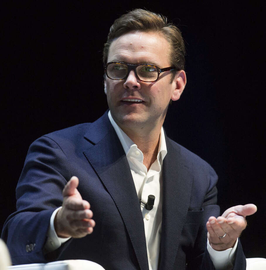 James Murdoch gestures as he speaks during a panel session at the Cannes Lions International Festival Of Creativity in Cannes, France, on June 25, 2015. Photo: Bloomberg Photo By Christophe Morin. / © 2015 Bloomberg Finance LP