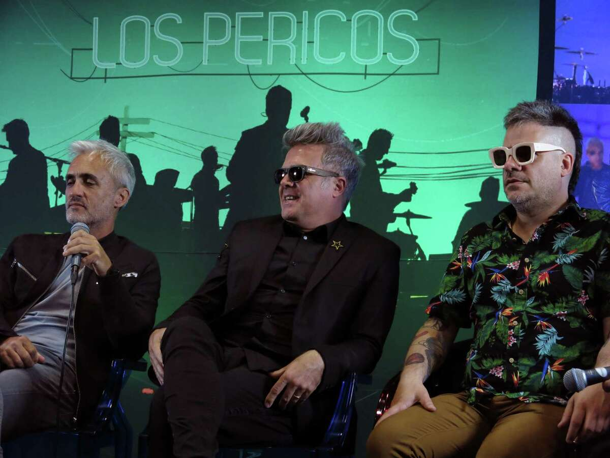 In this Oct. 24, 2017 photo, members of the Argentine band Los Pericos hold a press conference to promote their 30th anniversary album Â?