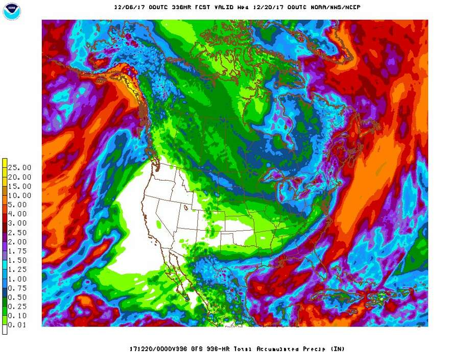 """Long range forecast models depict no precipitation along just about all of the West Coast over the next 14 days,"" the National Weather Service said in a tweet on Dec. 7, 2017. Photo: National Weather Service"