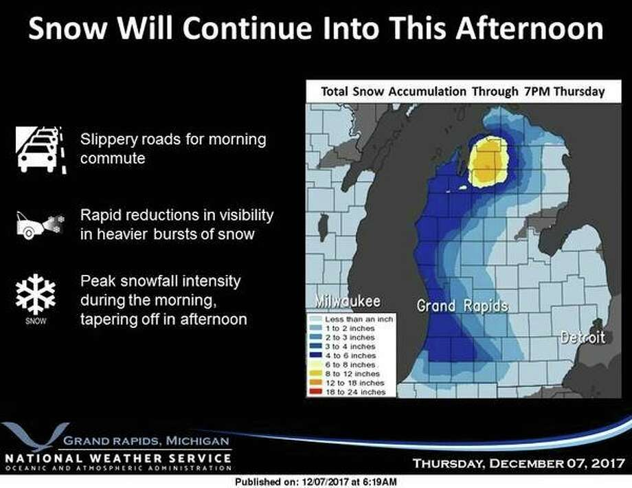 Snow will continue to fall over West Michigan into Thursday afternoon before tapering off. The most intense snowfall rates will occur Thursday morning. Motorists should be prepared for slick road conditions and allow extra time to reach their destination. Another round of accumulating snowfall is expected Friday night into Saturday. (National Weather Service, Grand Rapids)