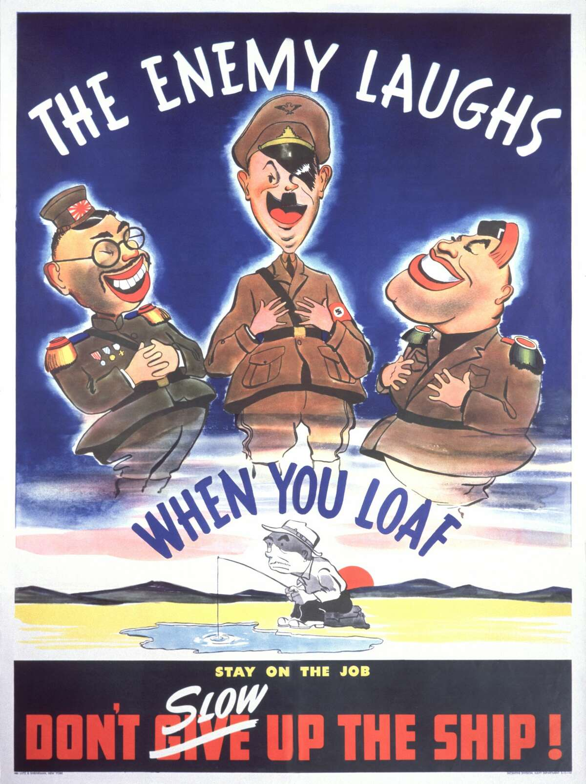 The U.S. Navy warned sailors against laziness, which weakened the navy and aided its enemies. Editor's Note: Propaganda art of the 1940s often depicted images now considered racist or otherwise offensive. They are presented here unedited for educational and historical purposes to demonstrate how these types of images were used to draw up fervor against and hatred for foreign enemies during World War II.