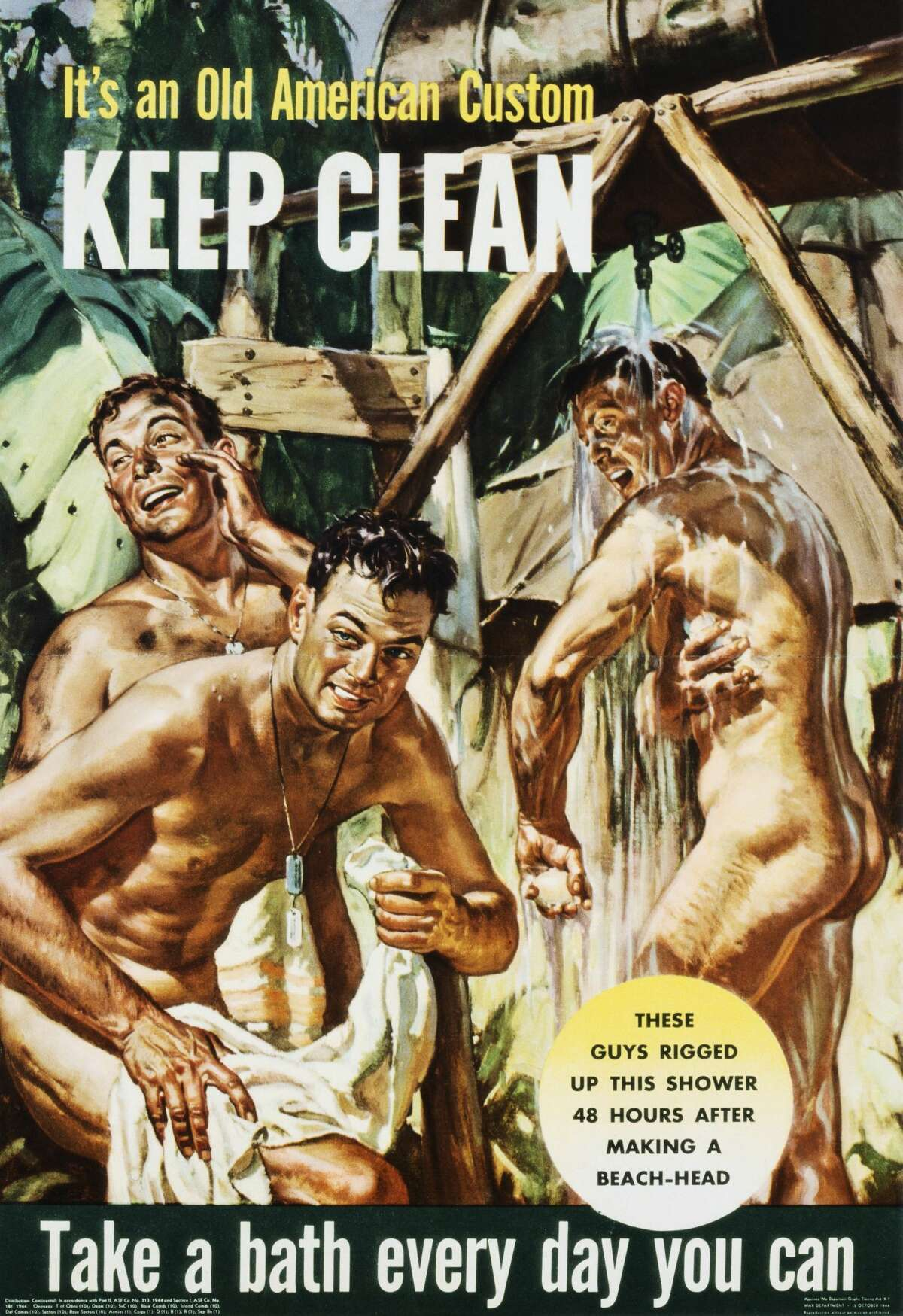 """Soldiers were asked to uphold the """"old American custom"""" of daily showers in this cheeky propaganda poster."""