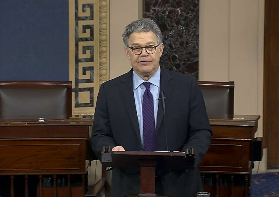 In this image from video from Senate Television, Sen. Al Franken, D-Minn., speaks on the Senate floor of the Capitol in Washington, Thursday morning, Dec. 7, 2017.  Franken said he will resign from the Senate in coming weeks following a wave of sexual misconduct allegations and a collapse of support from his Democratic colleagues, a swift political fall for a once-rising Democratic star. (Senate TV via AP) Photo: AP