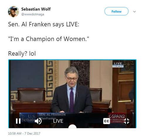 """Sen. Al Franken says LIVE: 'I'm a Champion of Women.' Really? lol""Source: Twitter Photo: Twitter"