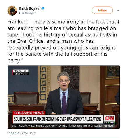 """""""Franken: 'There is some irony in the fact that I am leaving while a man who has bragged on tape about his history of sexual assault sits in the Oval Office, and a man who has repeatedly preyed on young girls campaigns for the Senate with the full support of his party.'""""Source: Twitter Photo: Twitter"""