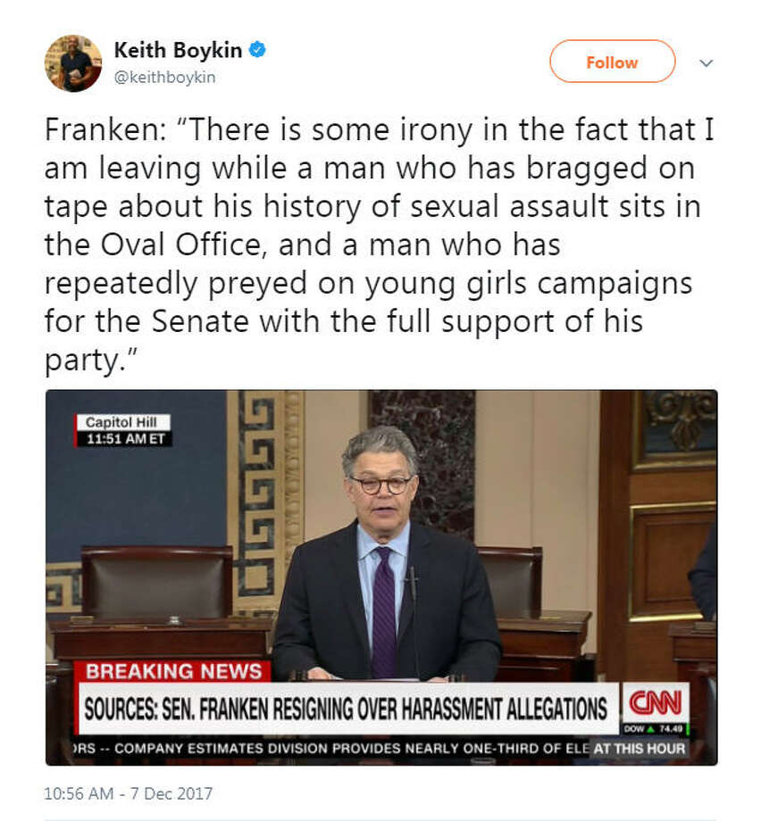 """Franken: 'There is some irony in the fact that I am leaving while a man who has bragged on tape about his history of sexual assault sits in the Oval Office, and a man who has repeatedly preyed on young girls campaigns for the Senate with the full support of his party.'""Source: Twitter Photo: Twitter"
