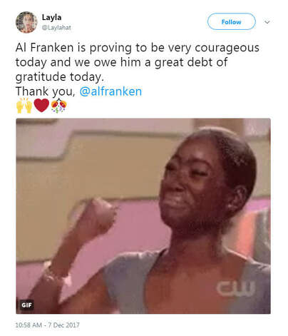 """""""Al Franken is proving to be very courageous today and we owe him a great debt of gratitude today. Thank you, @alfranken""""Source: Twitter Photo: Twitter"""