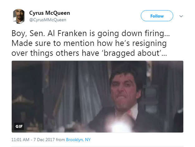 """""""Boy, Sen. Al Franken is going down firing... Made sure to mention how he's resigning over things others have 'bragged about'... """"Source: Twitter Photo: Twitter"""