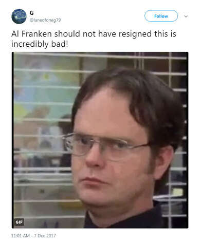 """""""Al Franken should not have resigned this is incredibly bad!""""Source: Twitter Photo: Twitter"""