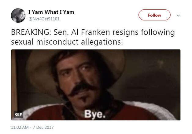 """BREAKING: Sen. Al Franken resigns following sexual misconduct allegations!""Source: Twitter Photo: Twitter"