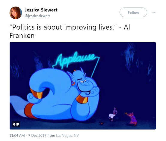 """""Politics is about improving lives."" - Al Franken""Source: Twitter Photo: Twitter"