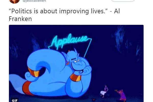 """""""""""Politics is about improving lives."""" - Al Franken""""  Source:  Twitter"""
