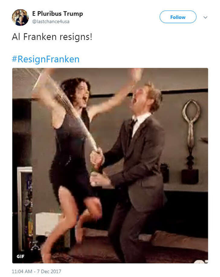 """Al Franken resigns!  #ResignFranken""Source: Twitter Photo: Twitter"
