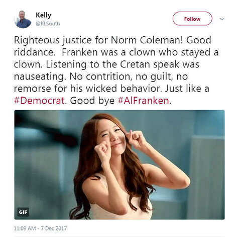 """""""Righteous justice for Norm Coleman! Good riddance.  Franken was a clown who stayed a clown. Listening to the Cretan speak was nauseating. No contrition, no guilt, no remorse for his wicked behavior. Just like a #Democrat. Good bye #AlFranken. """"Source: Twitter Photo: Twitter"""