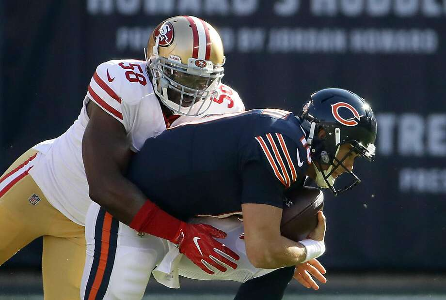 Elvis Dumervil sacks Bears quarterback Mitchell Trubisky on Sunday. He has 5 1/2  sacks this season and hopes the 49ers picks up[ his second-year option during the offseason. Photo: Jonathan Daniel