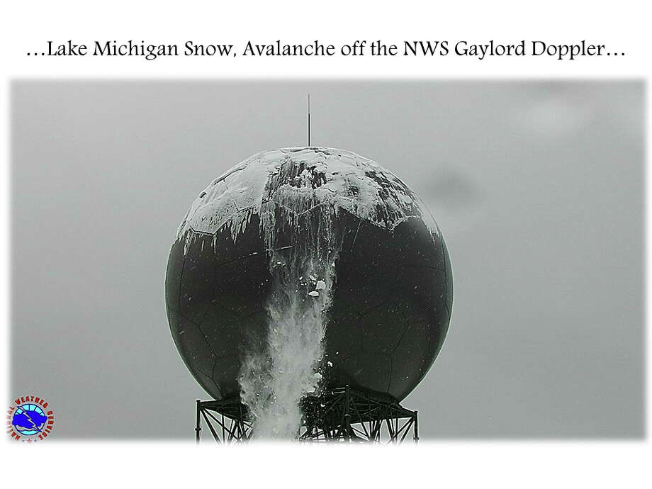 Avalanche off the NWS Gaylord Mi Doppler...Lake induced snow off Lake Michigan generated nearly 16 inches of snow in the snowbelts during the past 24 hours. Snow that collected on the NWS Gaylord Mi dome, is falling off in sheets this afternoon. Photo: National Weather Service, Gaylord