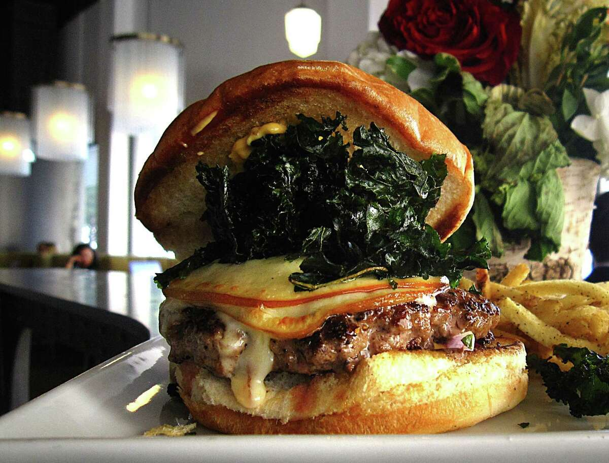 The Rosella burger with fontina cheese, kale chips and fries at Rosella at The Rand.