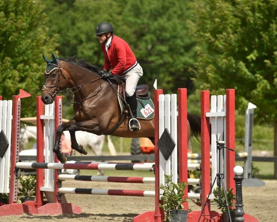 Bob Rose and Starbuck Equestrian's Rocky during the Low Training Jumper division of the Fairfield Westchester. Photo: Contributed Photo
